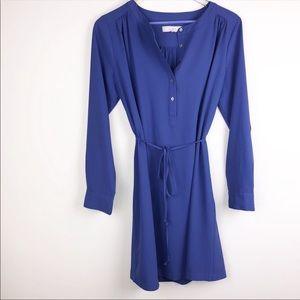 Loft Long Sleeve Tie Dress In Purple